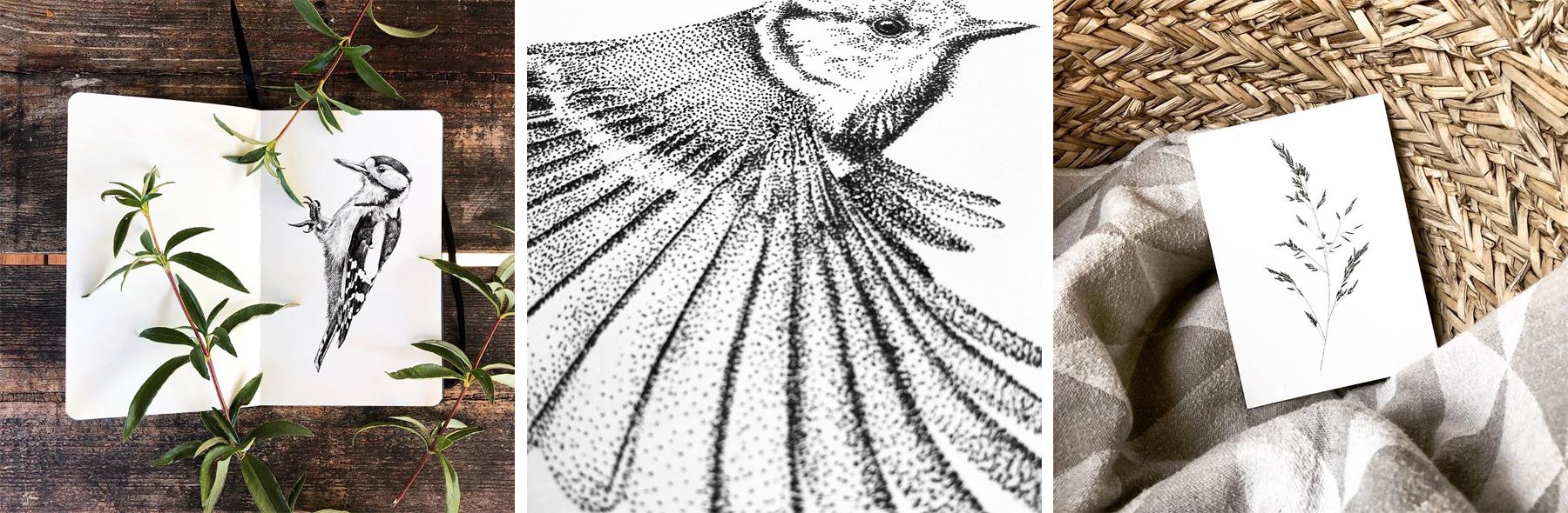 Verkooppunten – Mélisse ansichtkaarten van flora en fauna, dieren, vogels, planten